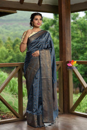 Grey Shade Banarasi Katan Silk Handwoven Saree