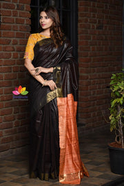 Dark Brown and Red Shaded Handwoven Tussar Viscose Silk Saree with Ghicha Pallu