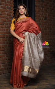 Crimson Red Shade Handwoven Tussar Viscose Silk Saree with Ghicha Pallu