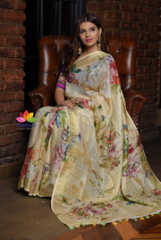 Multicolor Handwoven Printed Linen Saree