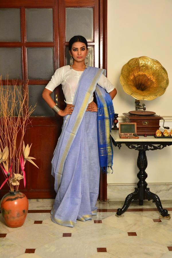 Ash Blue and Navy Blue Handwoven Cotton Silk Saree-Vemaka New-Chandri