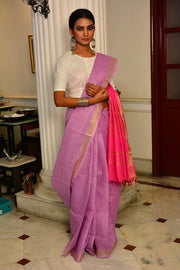 Mauve and Pink Handwoven Cotton Silk Saree-Vemaka New-Chandri