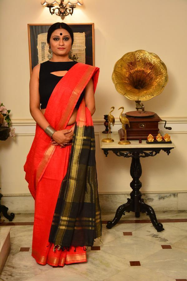 Red and Black Handwoven Cotton Silk Saree