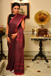 Wine and Black Handwoven Cotton Silk Saree