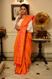 Orange and Rani Handwoven Cotton Silk Saree