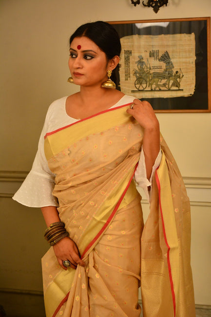Beige and Gold Handwoven Cotton Silk Saree-October Collection-Vemaka