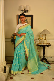 Sea Green and Gold Handwoven Cotton Silk Saree