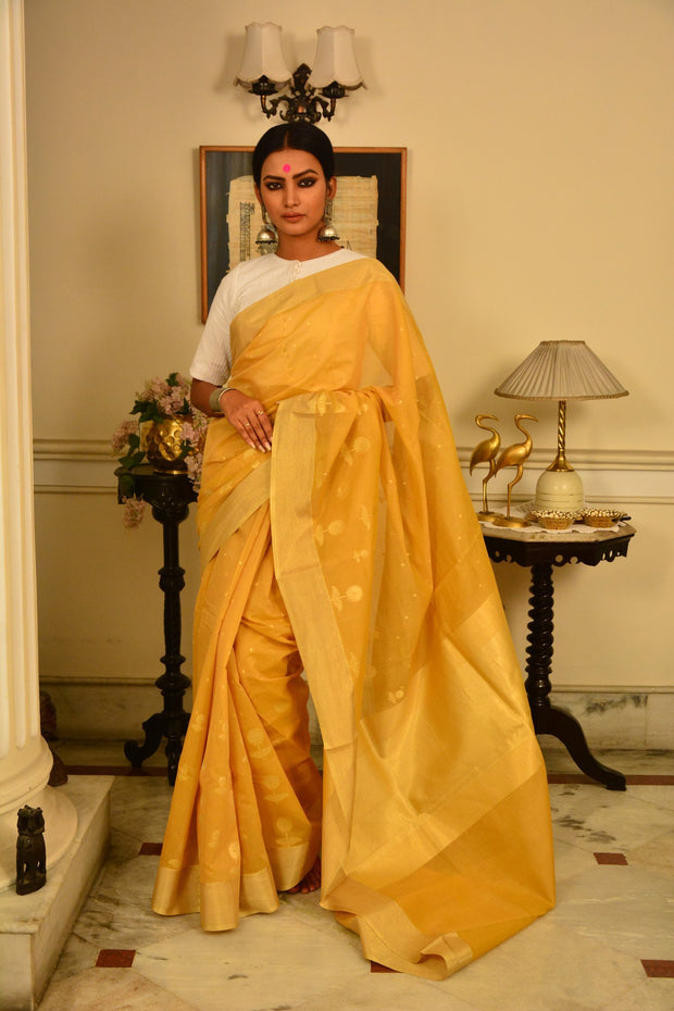 Yellow and Gold Handwoven Cotton Silk Saree