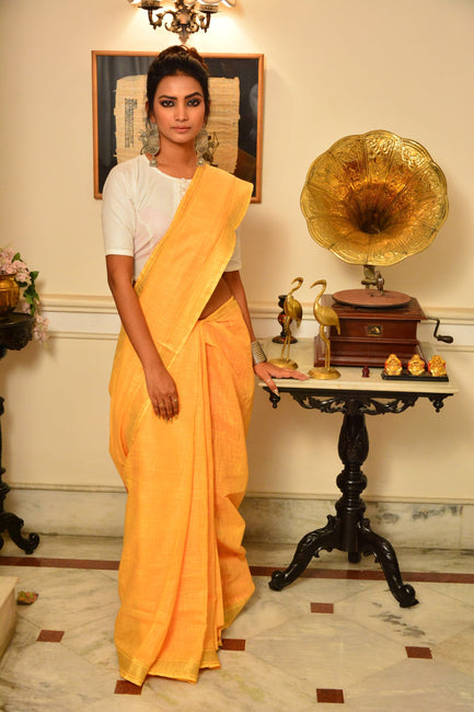 Yellow Handwoven Cotton Silk Saree