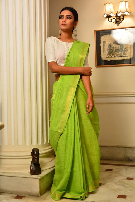 Lime Green and Yellow Handwoven Cotton Silk Saree
