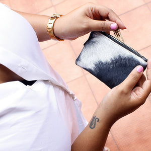 Black and white hair on hide Coin clutch by Mezay Ugbo