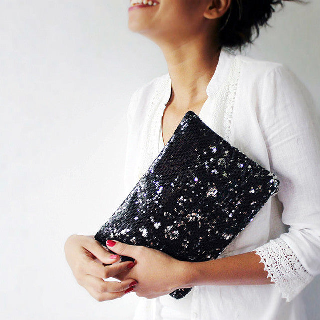 Sequin Clutch in black and silver, perfect for evenings and nights out