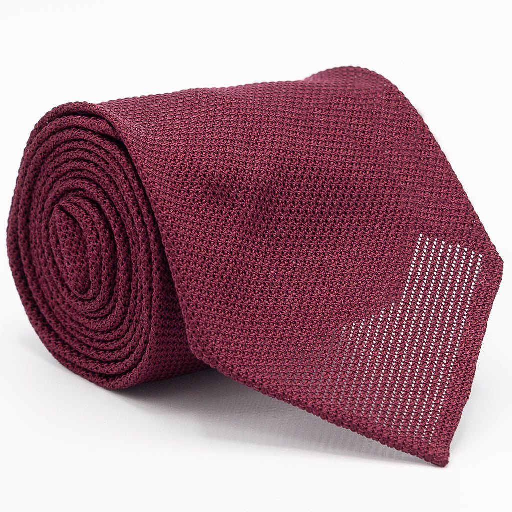 Grenadine Garza Fina Hand Rolled Tie (3.5 in) - Burgundy - Oxford Rowe