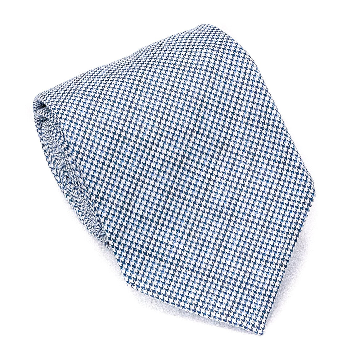 Puppytooth Wool Hand Rolled Tie - Blue