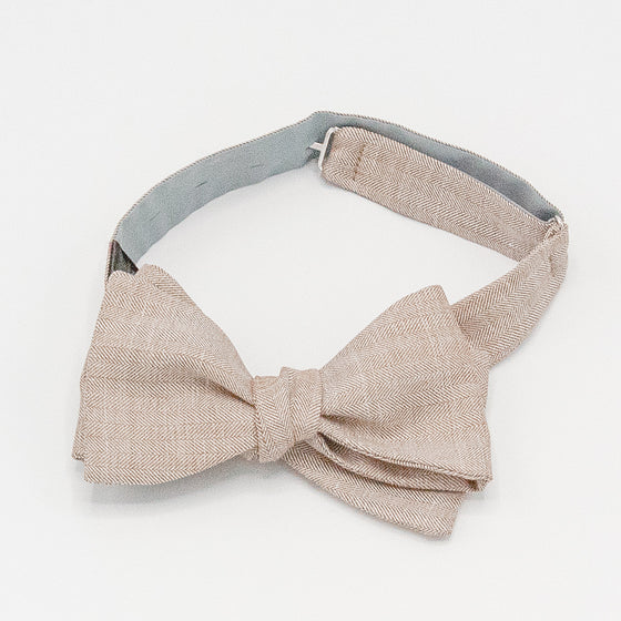 Herringbone Wool Bow Tie - Brown