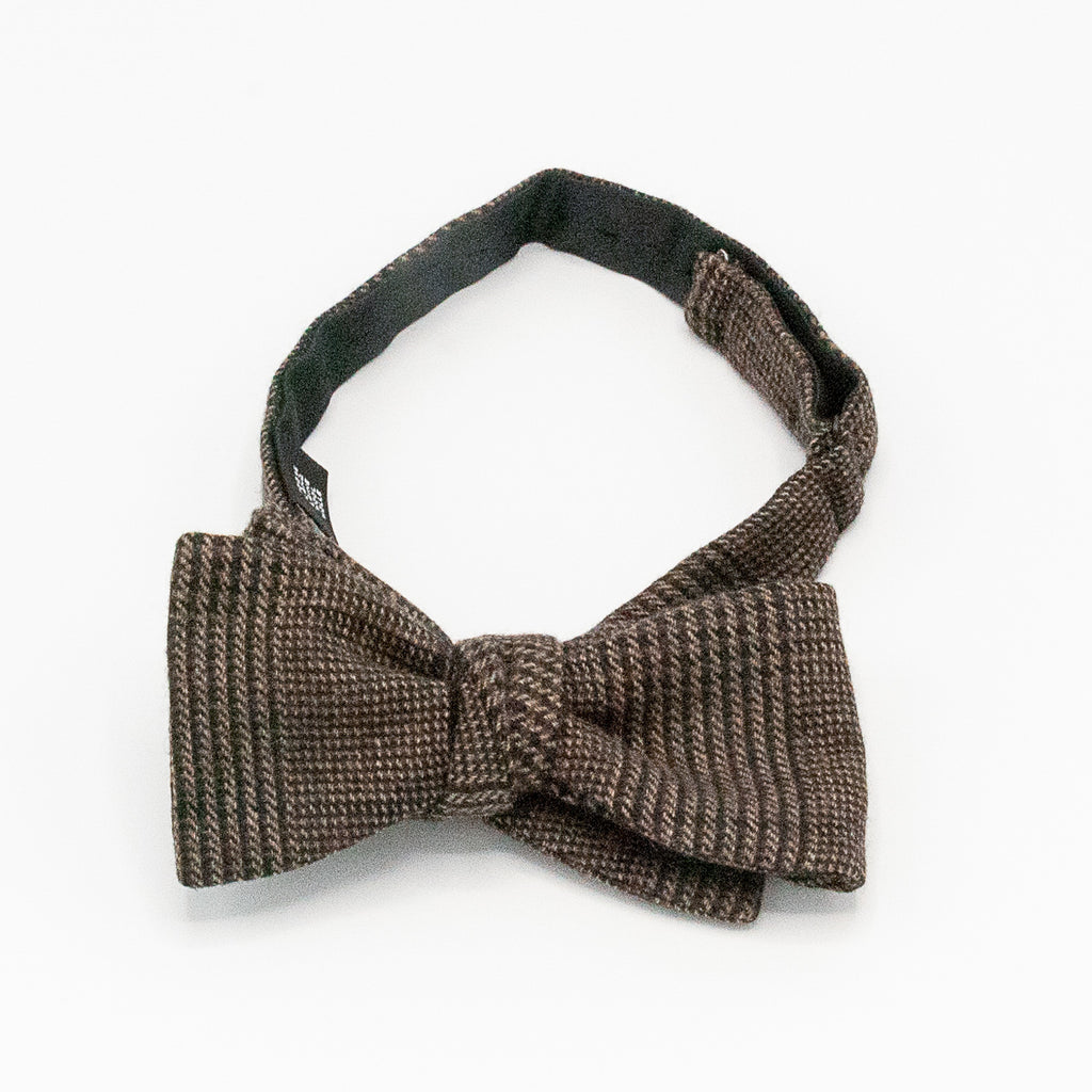 Plaid Wool Bow Tie - Brown and Black