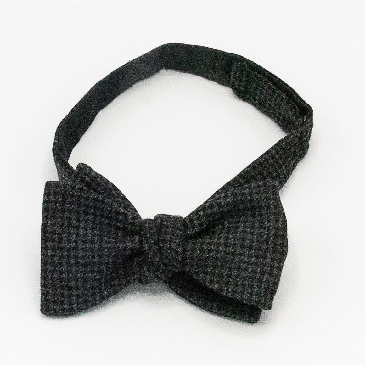 Houndstooth Wool Bow Tie - Grey