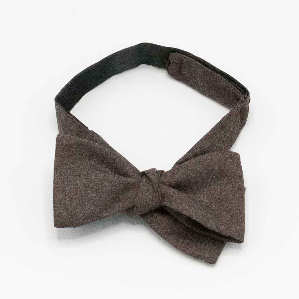Solid Cashmere/ Wool Bow Tie - Brown