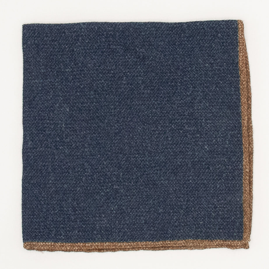 Solid Wool Pocket Square - Denim and Brown