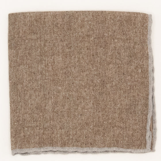 Solid Wool Pocket Square - Mocha and Silver