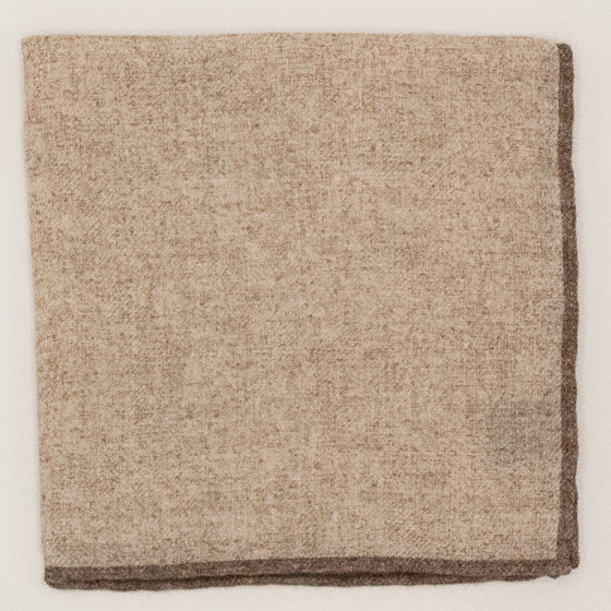 Solid Wool Pocket Square - Sand and Brown