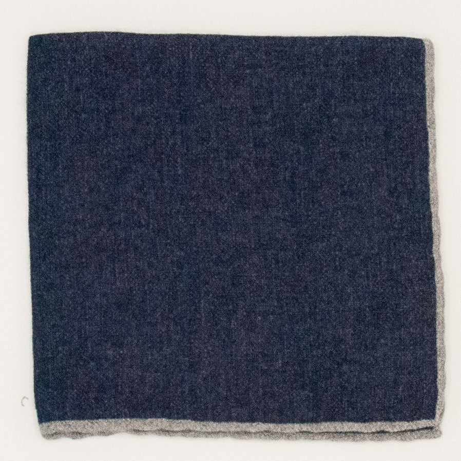 Solid Wool Pocket Square - Navy and Grey