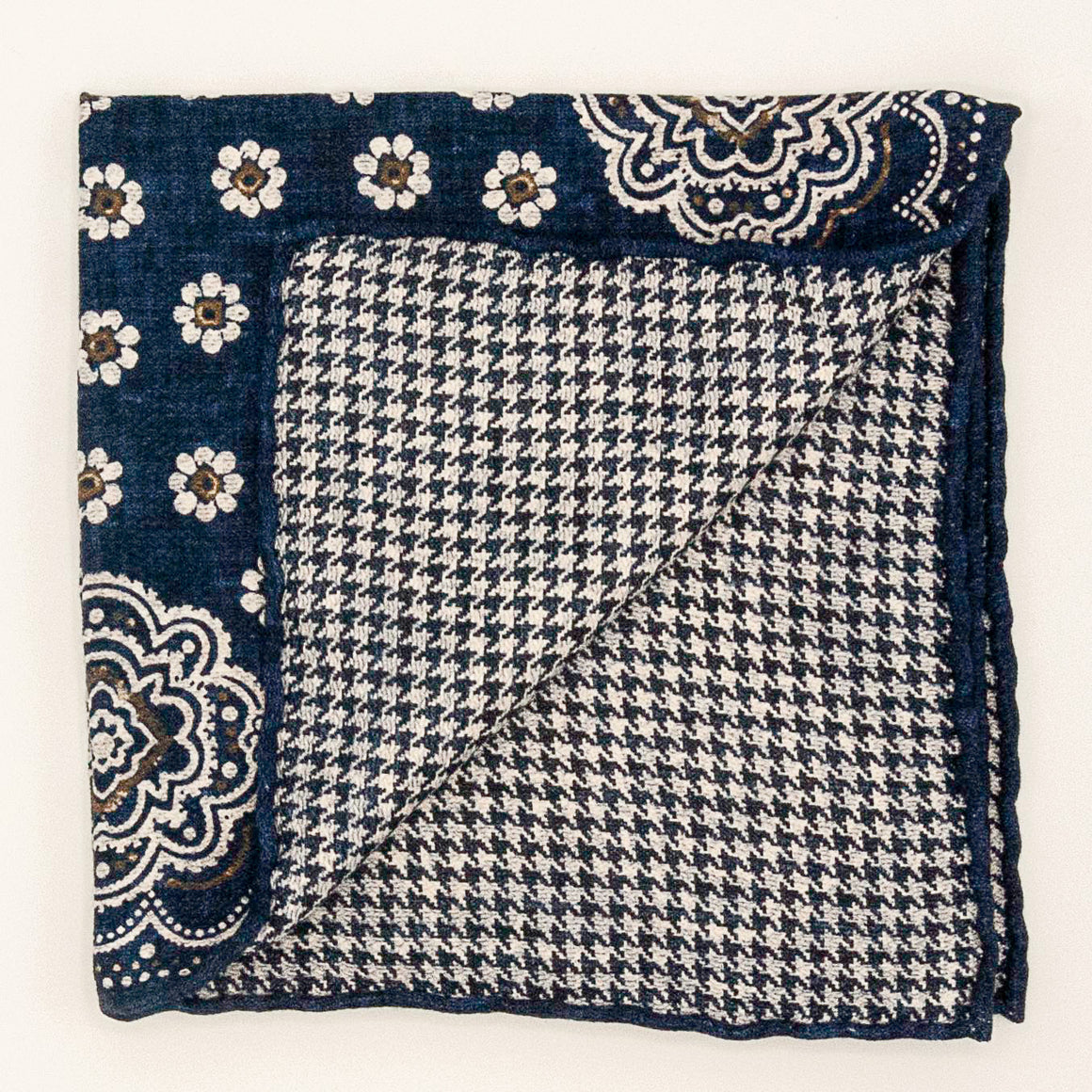 Double Sided Silk Bandana Pocket Square - Navy