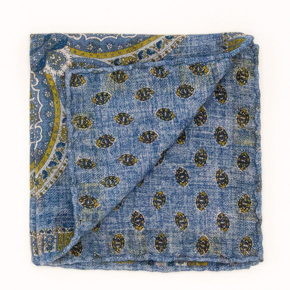 Double Sided Wool Medallion Pocket Square - Blue