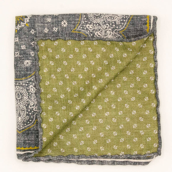 Double Sided Silk Bandana Pocket Square - Charcoal