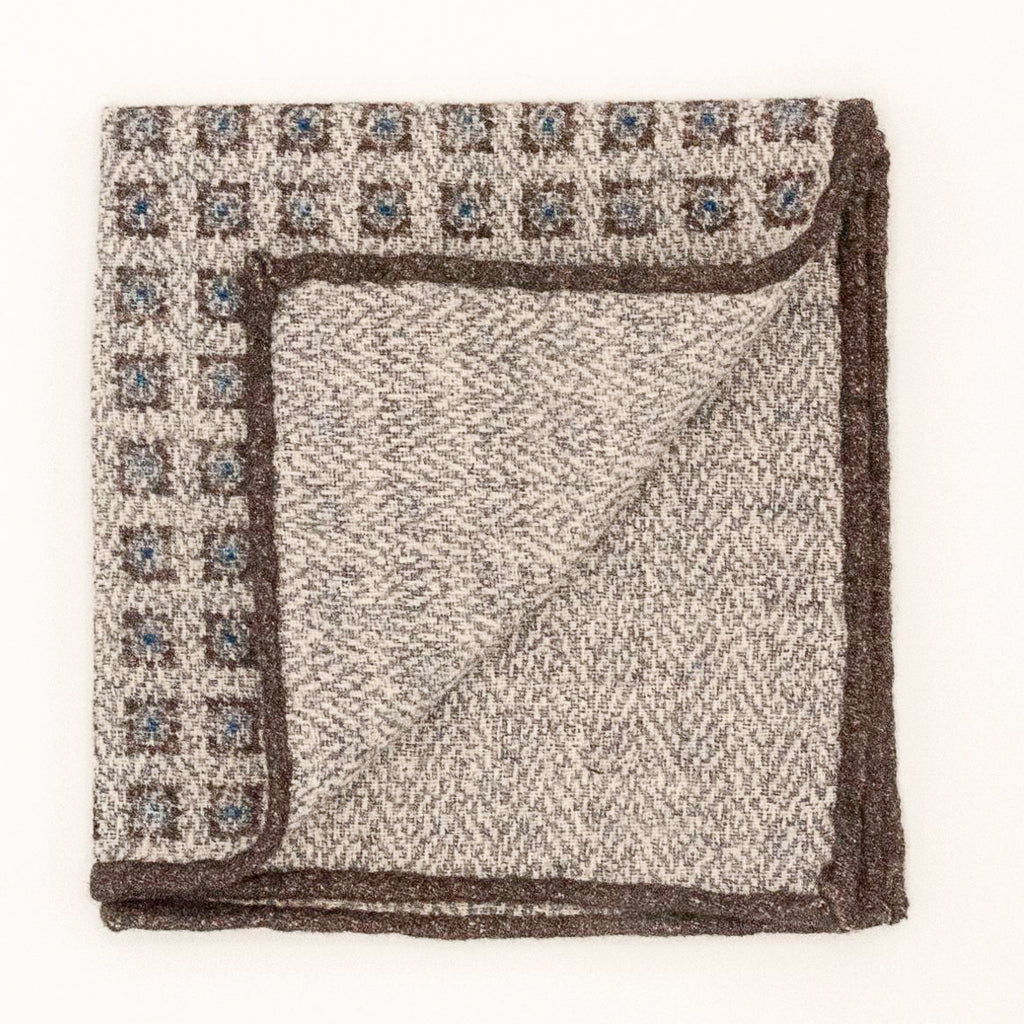 Double Sided Boxed Wool and Silk Pocket Square - Brown