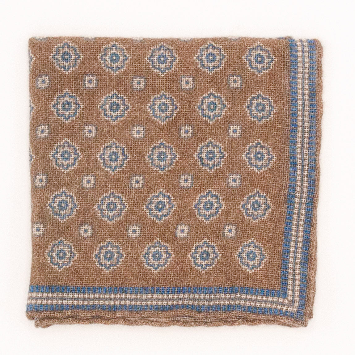 Cashmere Medallion Pocket Square - Wheat