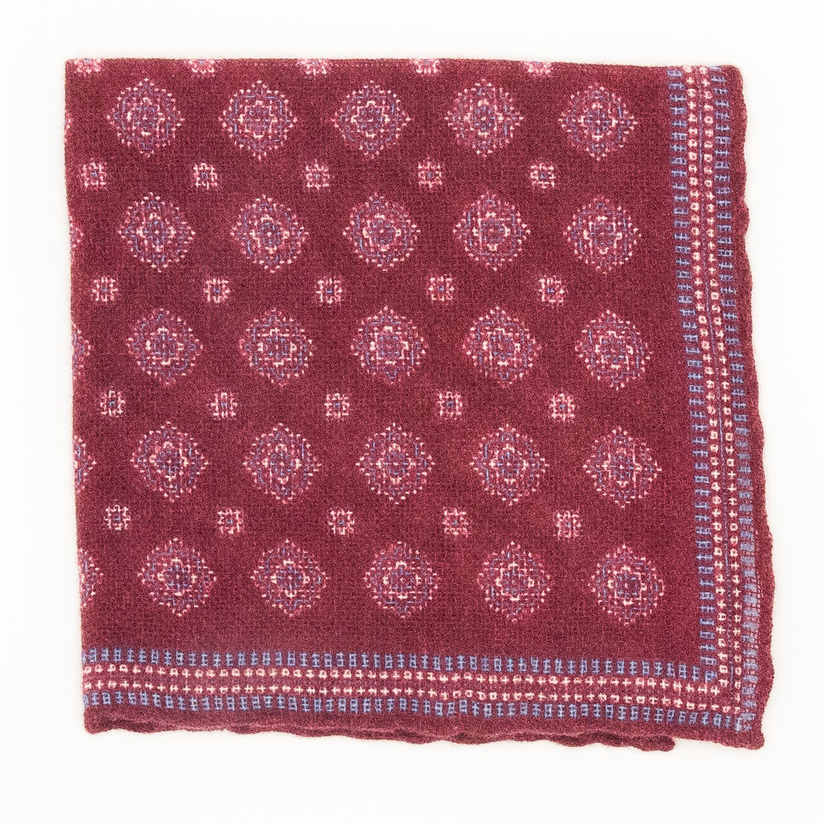 Cashmere Medallion Pocket Square - Fuchsia