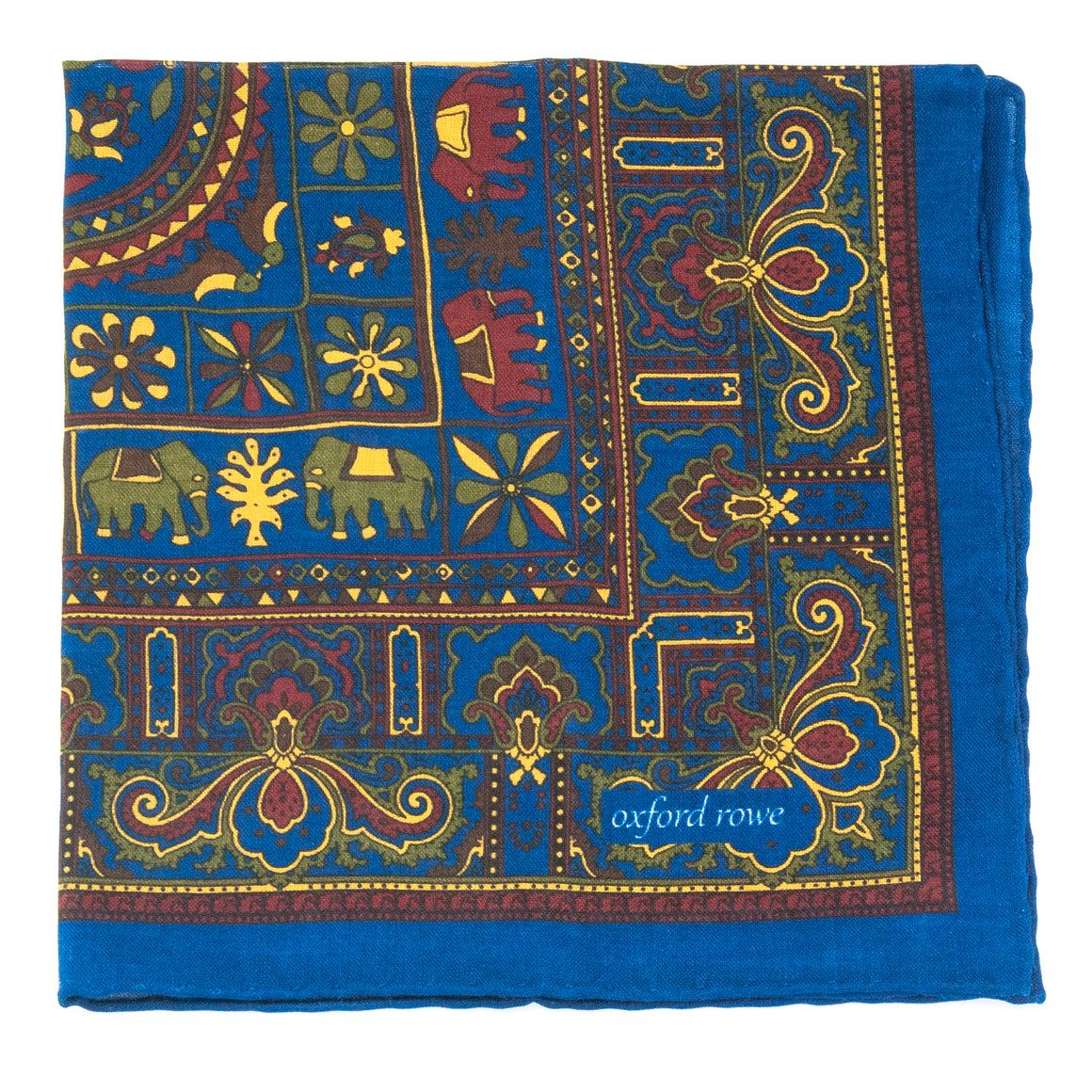 Tribal Wool and Silk Pocket Square - Electric Blue