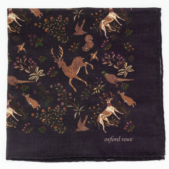 """Forest Friends"" Wool and Silk Pocket Square - Plum"