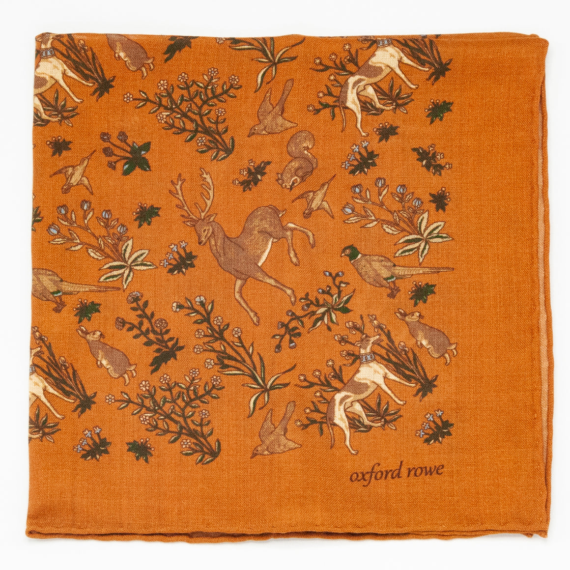 """Forest Friends"" Wool and Silk Pocket Square - Pumpkin"