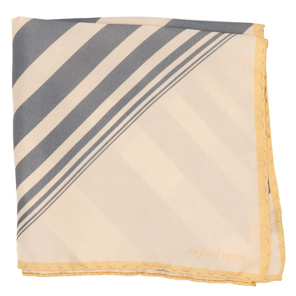 Diagonal Stripes Silk Pocket Square - Beige - Oxford Rowe