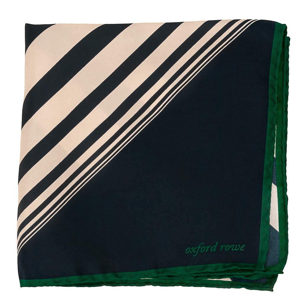 Diagonal Stripes Silk Pocket Square - Blue - Oxford Rowe