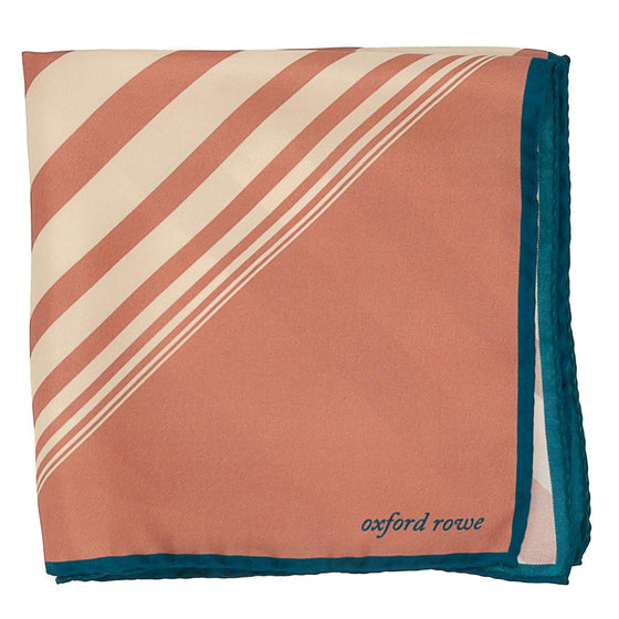 Diagonal Stripes Silk Pocket Square - Pink - Oxford Rowe