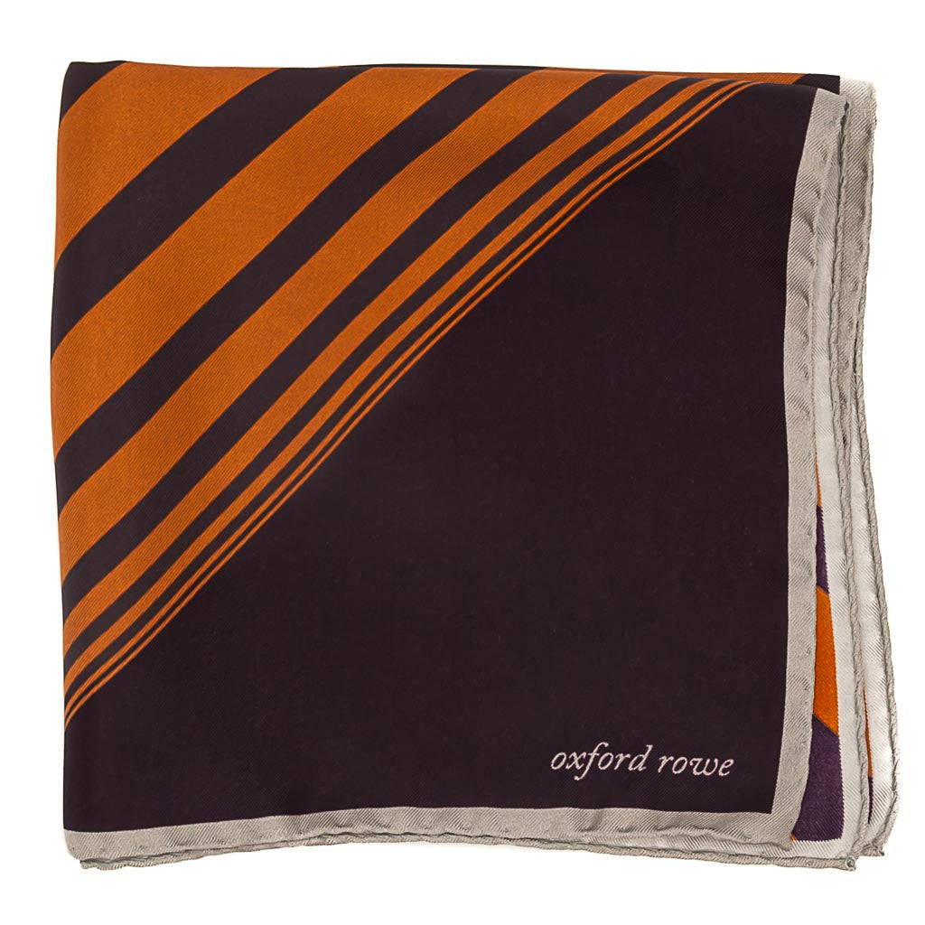 Diagonal Stripes Silk Pocket Square - Purple - Oxford Rowe