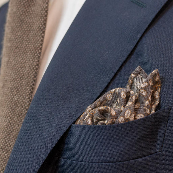 Floral Wool Pocket Square - Grey - Oxford Rowe