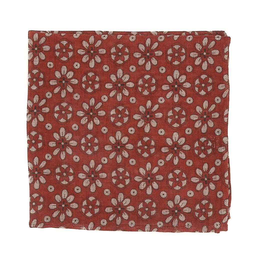 Floral Wool Pocket Square - Red - Oxford Rowe