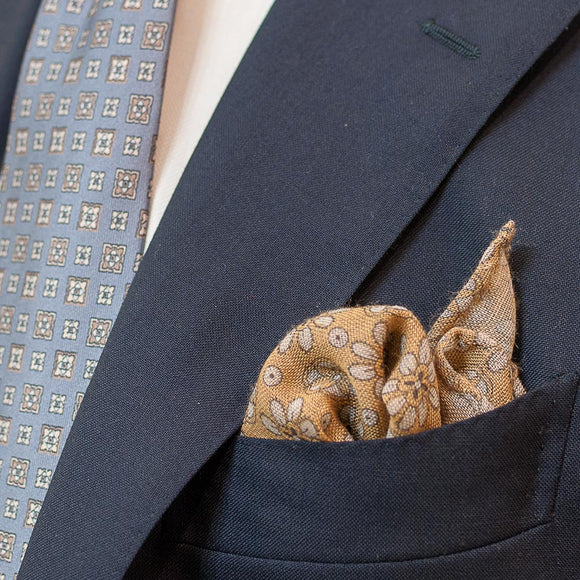 Floral Wool Pocket Square - Yellow - Oxford Rowe