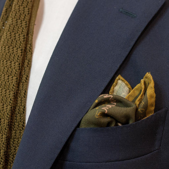 Paisley Wool and Silk Pocket Square - Green - Oxford Rowe