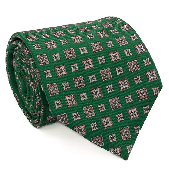 Diamond Foulard Printed Silk Tie - Green - Oxford Rowe