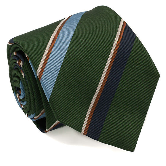 Repp Stripe Woven Silk Tie - Green - Oxford Rowe