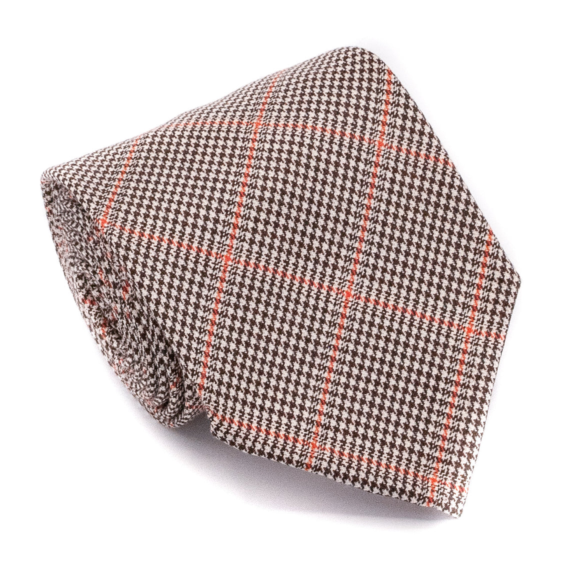 Check Wool Hand Rolled Tie - Brown