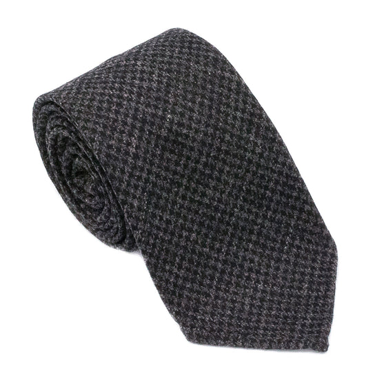 Houndstooth Wool Hand Rolled Tie - Grey