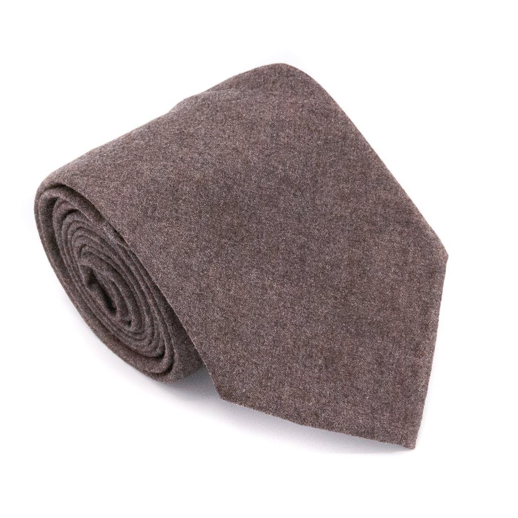 Solid Cashmere/ Wool Hand Rolled Tie - Brown