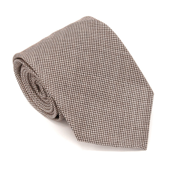 Puppytooth Wool Hand Rolled Tie - Brown