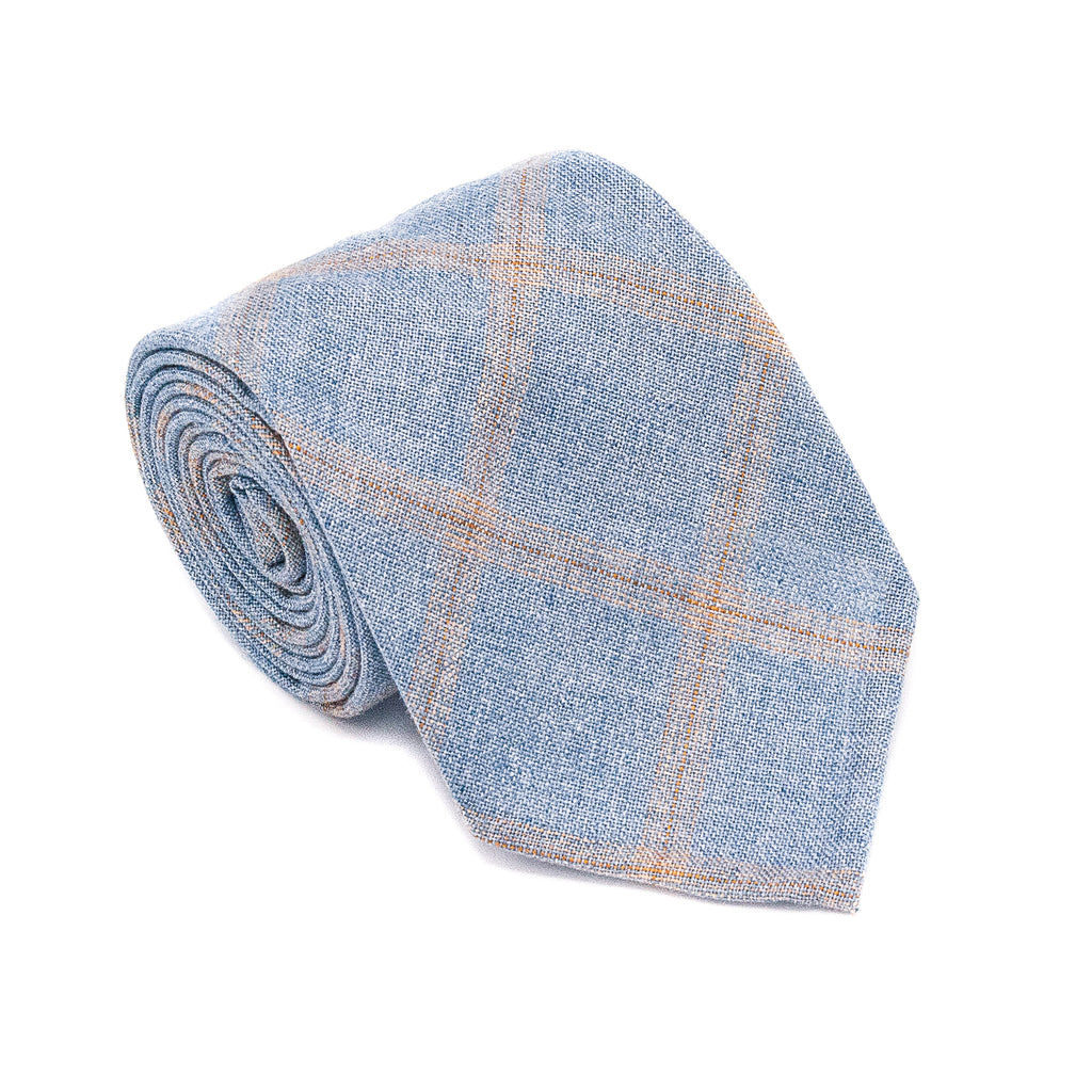 Check Wool Hand Rolled Tie - Blue and Orange